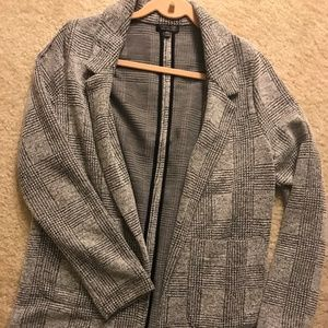Women's Topshop Plaid Knit Blazer Size 8 NWOT